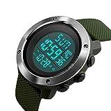 PHCOOVERS デジタル 腕時計 メンズ レディース 男女兼用 ミリタリー ウォッチ アラーム クロノグラフ 多機能 (グリーン L)
