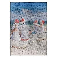 sixokai手AssembledパズルおもちゃBackビューの美しいファミリWearingレッドサンタ帽子at tropical 120Piece