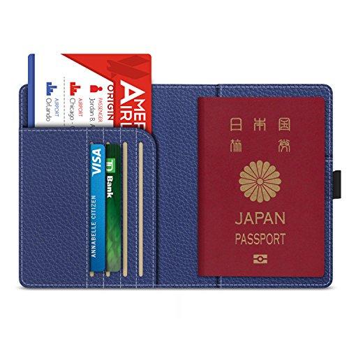 パスポートケース - ATiC 多機能収納ポケット付き 安全な海外旅行用 高級PUレザー製 パスポートカバー 5.5インチ INDIGO