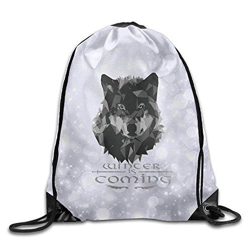 Wolf Blood ナップサック オリジナルバッグ ジムサック 狼 オオカミ 幾何模様デザイン 勇者紋章 冬来たる Drawstring Bag
