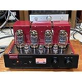RFTLYS - A2 - KT88 - 真空管 プリメイン アンプ と イヤホン アンプ Bluetooth ステレオ (RFTLYS - A2-Black panel-Red)