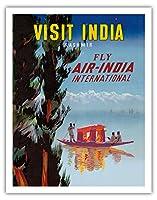 インドを訪問 - カシミール - エアインディアインターナショナルフライ - ビンテージな航空会社のポスター c.1950 - アートポスター - 28cm x 36cm