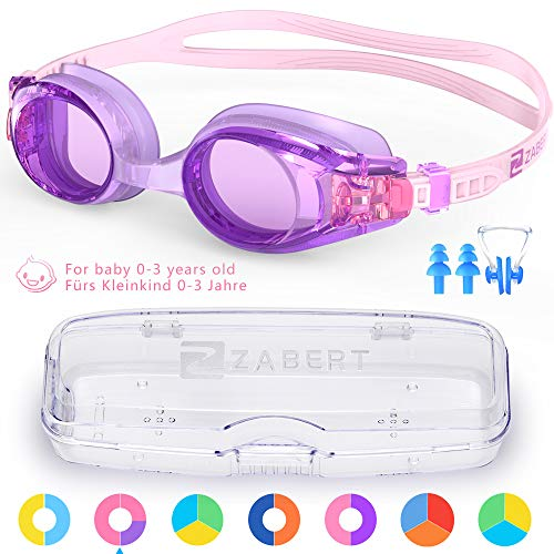 ZABERT KX 子供 幼児 水泳ゴーグル 子供用 スイミングゴーグル スイムゴーグル 水中メガネ ジュニア キッズ こども 子供 0-3歳 くもり止め 曇り止め クリア ミラー ピンク 紫 バイオレット ラベンダー