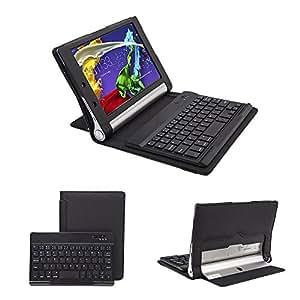 【Ewin】 lenovo yoga tablet 2 8 ケース キーボード レノボ 第2世代専用(830F・851F)2-8インチ スタンド オートスリープ機能付き bluetooth 3.0 keyboard マグネット 脱着式キーボード 高級PUレザー 保護ケース (ブラック)