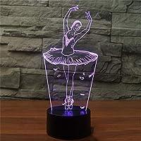 バレエダンサーガール3d オプティカルイリュージョンランプ LED ナイトライト7色タッチアート彫刻ライト付き USB 充電調光装飾ナイトライト用キッズルームホームギフト