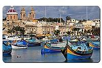 マルタ島、ボート、住宅、海 パターンカスタムの マウスパッド 海 デスクマット 大 (60cmx35cm)