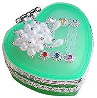 ハート型のガラスの宝石箱の子供の化粧箱宝石箱グリーン