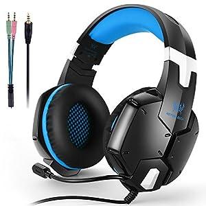 KOTION EACH ゲーミングヘッドセット3.5mm ヘッドホン ステレオミニジャック 発光ヘッドフォン 音量調節機能付き 高音質 マイク付き 重低音 騒音隔離 ヘッドアーム伸縮可能 3D仮想スピーカーの変位技術 PS4 PC Xbox One iPhoneなど対応(ブルー)