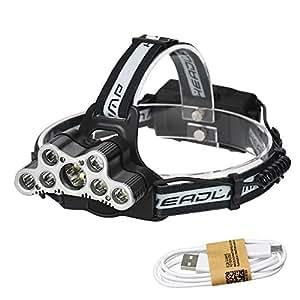 9 LEDヘッドランプヘッドライト照明ヘッドランプキャンプライト釣り懐中電灯トーチ充電式18650バッテリー ヘッドライト