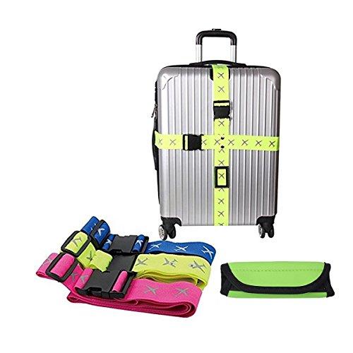[해외]VIEEL 십자형 벨트 가방 벨트 잠금 탑재 벨트 형광 십자형화물 고정 2 개 세트 핸들/VIEEL Cross Belt Suit Case Belt Lock Installation Belt Fluorescent Cross Luggage Fixation 2 pieces Set with Handle