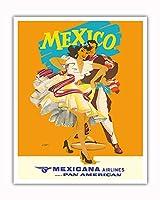 メキシコ - Mexicana (CMA) - パンアメリカンのアフィリエイト - ビンテージな航空会社のポスター によって作成された ライト c.1950s - アートポスター - 41cm x 51cm