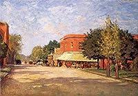 手描き-キャンバスの油絵 - Street Scene Theodore Clement Steele 芸術 作品 洋画 ウォールアートデコレーション -サイズ14