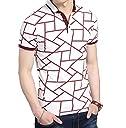 (Make 2 Be) メンズ ポロシャツ柄 半袖 カジュアル シャツ ゴルフ ウェア MF46 (14.Red_3XL)