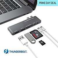Thunderbolt 3 ハブ Stouchi USB C ハブ コンボアダプタ Thunderbolt 3 ドック 40Gb/s (PD Qucik 充電) 6 in 1 TB3 USB-C 3.0 ポート microSD/SD 2 USB 3.1 ポート 2016/2017用 40-OVQJ-VWKE