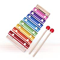 Children's Music Initiation Toy Wooden 8 Colors & Tones Hand Knock Xylophone with Mallets [並行輸入品]