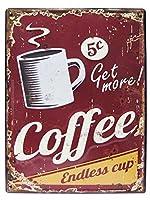 アメリカン ブリキ看板 COFFEE/コーヒー エンボス(凸凹)カリフォルニア(AZ/6817)ティンサイン/メタルサイン 看板 ガレージ カフェ 雑貨 アメリカン雑貨 アメリカ雑貨屋 看板