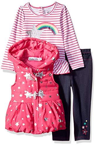 Kids Headquarters Baby-Girls 3 Pieces Vest Set Pants Set - Multi - 24M Pink/Blue