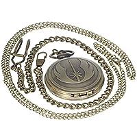 ブロンズヴィンテージ真鍮アンティークケースポケット時計Fob wat6ch forメンズレディースwith 1pcネックレスチェーン1pcクリップキーリブチェーン Carved Medal