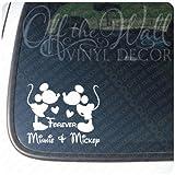 ディズニー ミッキーマウス&ミニーマウス シルエット ホワイト Minnie&Mickey Forever ビニール デカール カーステッカー (並行輸入品)