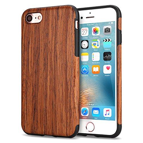 TENDLIN iPhone8 ケース/ iPhone7 ケース 天然木層と弾性のあるTPU シリコン混合薄木製(紫檀)