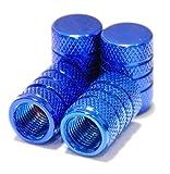 【Areyss】汎用 アルミエアバルブキャップ 円筒型 4個セットパッケージ版(青 ブルー) 140837