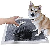 Collasaro(コラサロ) 速乾 しつけ用 犬用トイレパッド トイレマット ペットトレーニング 子犬用カーボントイレパッド ペットシーツ 6層構造 超吸水力 抗菌 屋内用 & 車用 (33x45CM (100枚), ブラック)