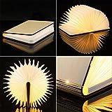 Sanato 木製折りたたみ式 ミニLEDブックライト USB充電式ナイトライト 1000mAhリチウム電池デスク/壁の磁気ランプ 書籍のような装飾ライト 夜間照明テーブルランプ ユニットギフト(暖かい白) UB33