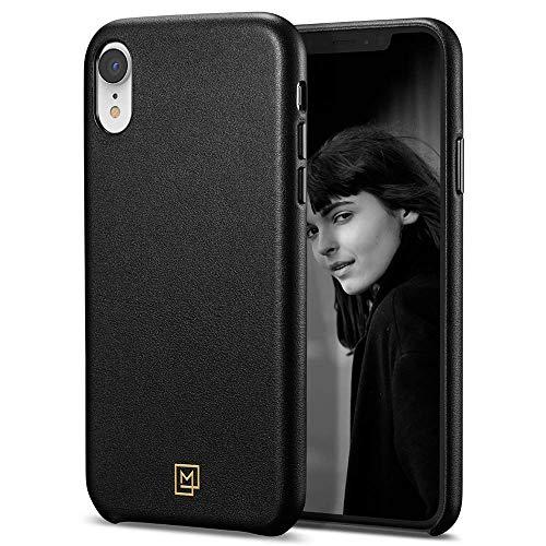 【Spigen x LA MANON】 iPhone XR ケース 6.1インチ 対応 レザー シンプル デザイン 軽量 薄型 光沢 艶 女性 指紋防止 傷防止 保護 ワイヤレス充電 カラン 064CS25089 (シック・ブラック)
