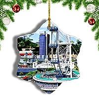 Weekinoマレーシアジョホールバルクリスマスオーナメントクリスマスツリーペンダントデコレーション旅行お土産コレクション陶器両面デザイン3インチ