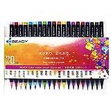 水彩 筆ペン BEADY 水彩毛筆 カラー筆ペン 全20色セット 収納ケース付き 日本の伝統色20種類