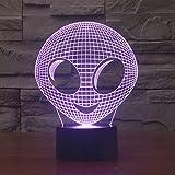 Gawell 3DイリュージョンナイトライトUSB LEDランプスリープルームのための7色の装飾良いギフト(地球外の)