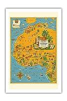 北アフリカの地図 - フランス連合 - クレディリヨン銀行 - ヴィンテージマップ によって作成された ルシアン・ブーシェ c.1939 - プレミアム290gsmジークレーアートプリント - 61cm x 91cm
