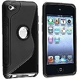 iPod Touch4 TPU Sデザインソフトケースカバー 液晶保護フィルム&クリーナー1セット付属 ブラック