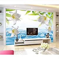 Weaeo カスタム3D壁画新鮮でシンプルな水リビングのリビングルームのテレビの壁の子供の寝室の花の壁紙-120X100Cm