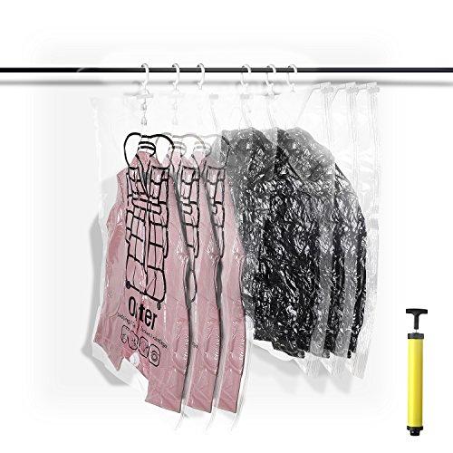 SHINPACK 吊るせる衣類圧縮袋 真空パック 衣類収納袋 6枚セット スペース節約 防塵・防湿 ダニ・カビ対策 手動ポンプ付き