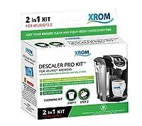 XROM クリーニングキット Keurig K-Cup 2.0コーヒーメーカー対応 非毒性 生分解性 フルサイクルクリーニング ヒーティングエレメント 醸造ヘッド