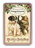 Cavallini・ペーパークリスマス猫と犬Glitter Greetingsはがき12アソートGlittered per tin