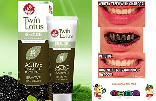 TWIN LOTUS ACTIVE CHARCOAL TOOTHPASTE HERBALISTE Triple Action Powered By Siam-Mana-Group (50g Twin Lotus Active Charcoal Toothpaste Herbaliste Triple Action) [並行輸入品]