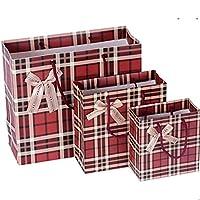 Aorunji シック ラブリーボーイとクリスマススタイリッシュレッドチェックギフトバッグ (サイズ : 30 * 27 * 12cm)