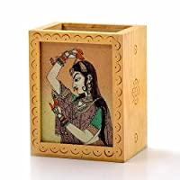 Little India Gemstone Painted Handcrafted Wooden Pen Stand 362 by Indigocart