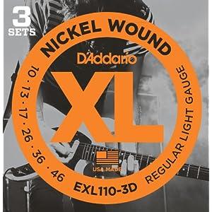 D'Addario ダダリオ エレキギター弦 ニッケル Regular Light .010-.046 EXL110-3D 3set入りパック 【国内正規品】