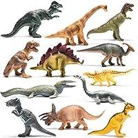 Prextex Realistic Looking 10 Dinosaurs Pack of 12 Large Plastic Assorted Dinosaur Figures [並行輸入品]