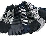 靴下 メンズ 5本指 ソックス / モノトーンカラーの10足セット かかと付きタイプ (27-29cm)