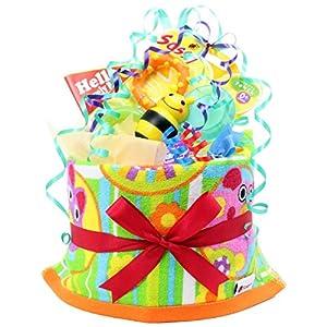 ハロガ工房 ご出産のお祝いにポップで楽しいオムツケーキ 《マイ リトル パル》マルチカラー(プリント柄)