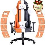 IODOOS ゲーミングチェア ハイバック オフィスチェア パソコンチェア PC椅子 無段階170度リクライニング ロッキング機能 ヘッドレスト付き ランバーサポート付き 肘掛付き 昼寝チェア(オレンジ)F-18EAA