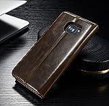 FLY SELINA Samsung Galaxy S7 Edge ケース 高級 本格レザー 手帳型 横開き カバー 革 マグネット式 カード収納 スタンド機能 ギャラクシー S7 エッジ 財布型 カバー 耐衝撃 ブラウン
