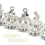 王冠 クラウン ペンダントトップ プラチナカラー アクセサリーパーツ 5個セット 《STONE KITCHEN パワーストーン 天然石》