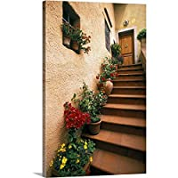 "Walter Bibikowプレミアムシックラップキャンバス壁アート印刷題名Tuscan階段、イタリア 24"" x 36"" 2239550_24_24x36_none"