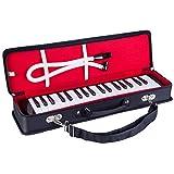 Mugig 鍵盤ハーモニカ 37鍵f~f3 りん青銅 ABS樹脂製 卓立奏唄口 二重ブローケース クリーニングクロス付き 軽量 ブラック