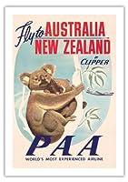 オーストラリア、ニュージーランド - パン・アメリカン航空(PAA) - クリッパーにより、オーストラリア、ニュージーランドに飛びます - コアラベアーズ - ビンテージな航空会社のポスター c.1950s - 美しいポスターアート